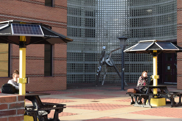 REI and Office of Sustainability unveil new solar picnic tables